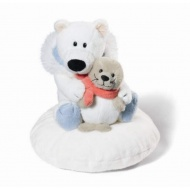 Miś polarny 15 cm i foczka na poduszce
